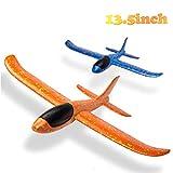 BeYumi 2pcs Flugzeug,Flugzeugspielzeug, manuelles Wurfspiel, Spaß, Herausforderung, Outdoor-Sport-Spielzeug, Schaumstoffflugzeugmodell, blau & orange Flugzeug