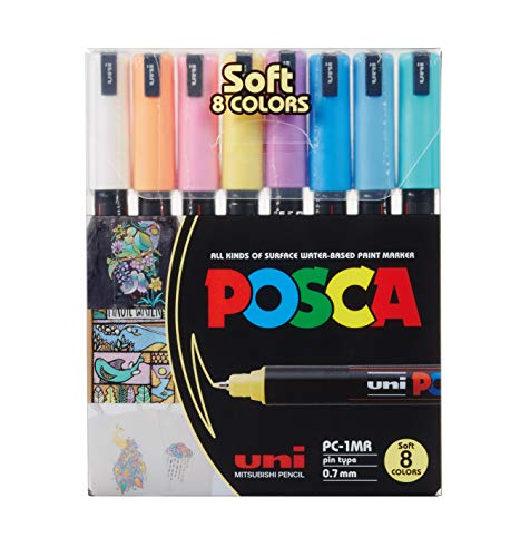 Marcador, Uni-Ball, Uni Posca Soft Colors, PC-1MR, 60.9800, 8 Cores Pastel