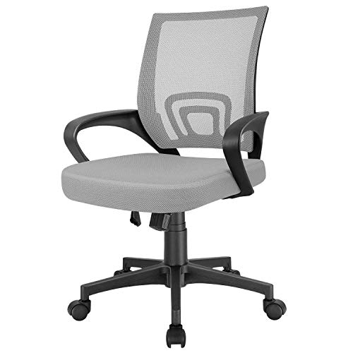 Furmax Mesh Computer Desk Swivel Ergonomic Lumbar Support Home Office Task Chair, Grey