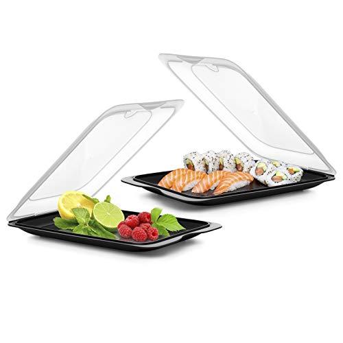 PracticFood TATAY FRESH System - Hochwertige Aufschnitt-Boxen, Frischhaltedose für Aufschnitt. Optimale Aufbewahrung im Kühlschrank, Maße 17 x 3.2 x 25.2 cm (2X Schwarz)