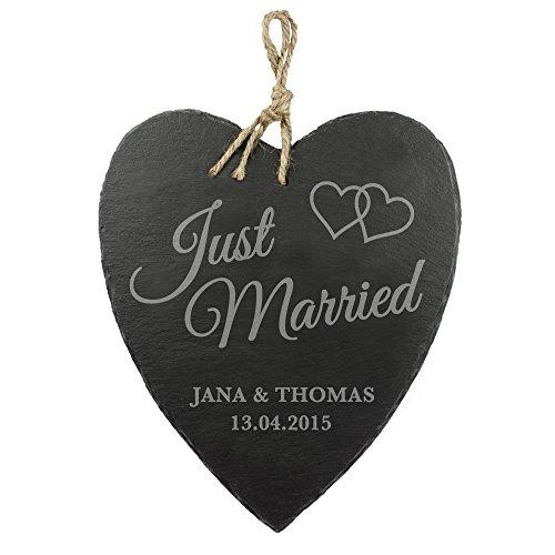 Casa Vivente Schieferherz mit Gravur zur Hochzeit – Motiv Herzen – Just Married – Personalisiert mit Namen und Datum – Hochzeitsgeschenk