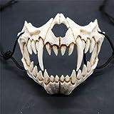 EqWong Maske Resin Halbmaske,Halloween Cosplay Resin Mask Die japanische Drachengott Maske Animal...