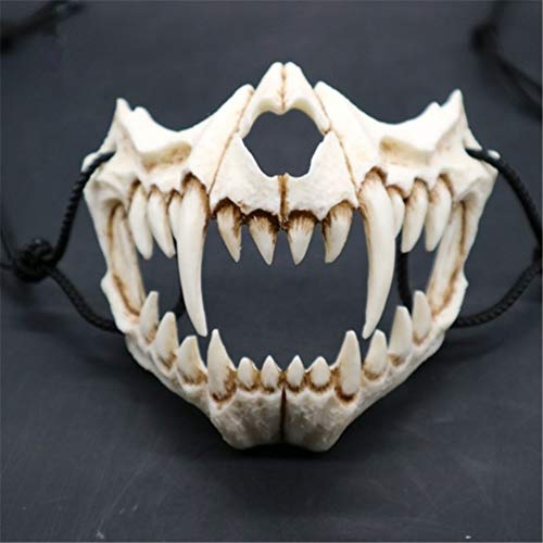 EqWong Maske Resin Halbmaske,Halloween Cosplay Resin Mask Die japanische Drachengott Maske Animal Theme Party Animal Skeleton Halbmaske Karneval für Kinder Frauen Männer