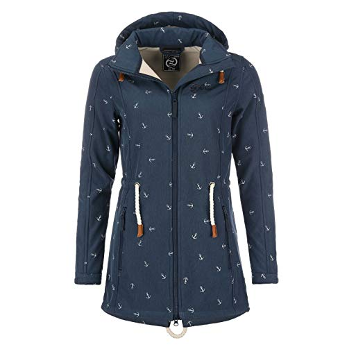 Friesennerz | Softshell-Mantel DryFashion mit Anker-Print | Navy | Gr. 36