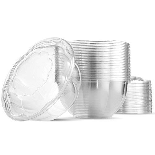 32 Ounce Clear Plastic Disposable Salad Containers with Lids in Bulk for a Fresh Airtight Seal, Portable Serving Bowl Set for Meal Prep & Preserve Freshness 25 Pack by NYHI Direct