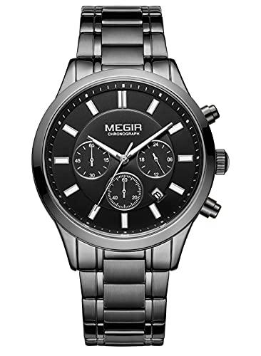 Panegy Reloj de pulsera para hombre, cronógrafo, analógico, de cuarzo, acero inoxidable, resistente al agua hasta 30 m, elegante, B-03., talla única,