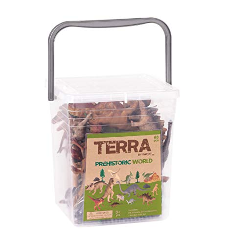 Terra by Battat – Prehistoric World – Assorted Miniature Dinosaur Toys & Accessories for Kids 3+ (60 Pc) Image