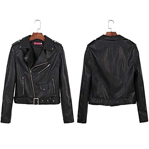 Damen Kunstleder Biker Blazer Mantel Strickjacke Slim Zipper Biker Jacke Winter Faux Leather Tops Jacke Damen Größe 34-44 Schwarz Grau Braun