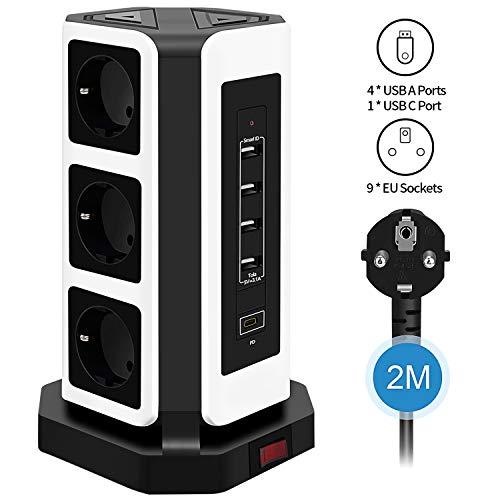 Steckdosenleiste 9 Fach (2500W/10A), Elover Mehrfachsteckdose mit 4 USB A * 1 USB C Ladeanschlüsse Steckdosenturm Überspannungsschutz und Kurzschlussschutz mit 2m Kabel für Zuhause Büro