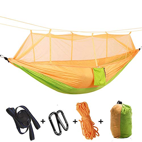 HUANXI MultifunctionDoubleHammock with Storage Bag + Strap,300kg Load Capacity (260x140cm) Yellow Pool Hammock For Adults for Outdoor Travel Camping Sleeping and Rest