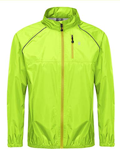 Little Donkey Andy Men's Waterproof Cycling Bike Jacket, Running Golf Rain Jacket, Windbreaker, Ultralight, Packable Yellow Size M