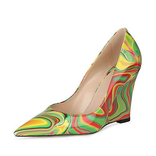 RHSMY Zapatos de tacón alto para mujer, de piel de patente puntiaguda Asakuchi, zapatos de tacón de pendiente sexy para mujer, para primavera/verano (deslizable) 10 cm (36 UE, verde)