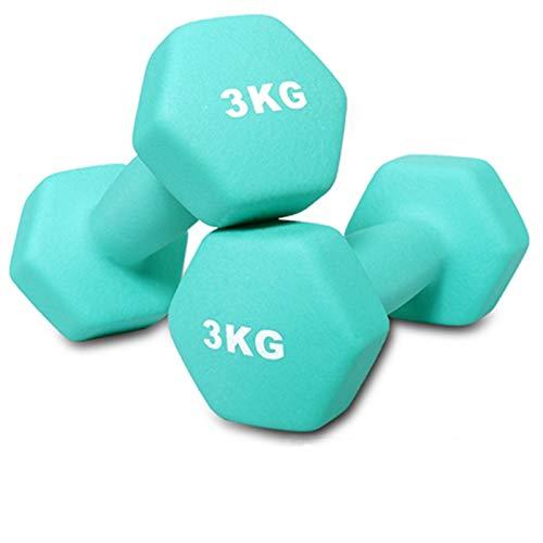 YQCH Mancuerna Mujer Fitness Dumbbell gimnas Gimnasio Dama casera aeróbica Ejercicio Equipo Barra Muscular tonificación Quemar Calorie mancuerna (Color : 3kg(6.6LBS)*2)