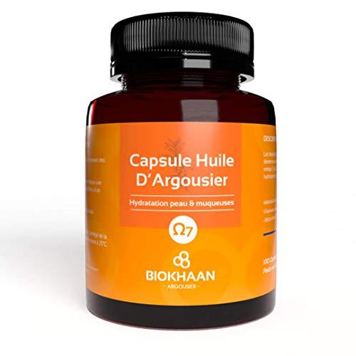 Oméga 3-6-7-9 | 100 Capsules Huile Argousier Pure BIO | Pressées à froid | Sans OGM | Sécheresse muqueuses