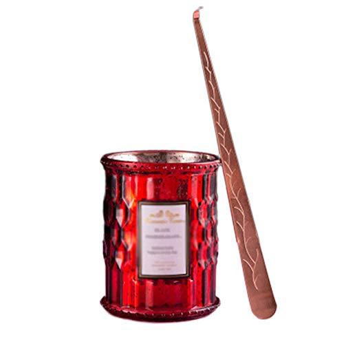 ZXJ Velas perfumadas, Plantas, Aceite Esencial, Cera de Soja Natural, Calma sin Humo, Vela de Vidrio de Cristal aromático para el día de San Valentín,Rojo