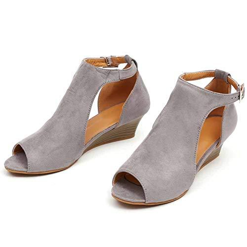 LiHong wiel-hak sandalen, voor de zomer, open teen, retro platform, enkelriem, gesp, gevlochten, elegant, comfortabel, riem, stof-37