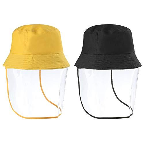 HaiMa Exterior Transparente Cara Completa Shied Sombrero Protector Sombrero De Cubo Extraíble Anti-Escupitajo Máscara Facial Sombrero De Pesca - Amarillo