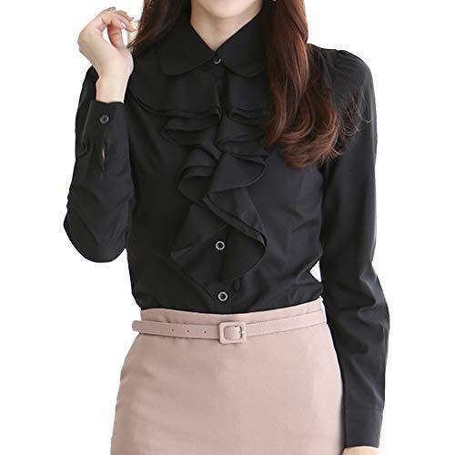 Nanxson Frauen Formal Langarm Spitzen Stehkragen Vintage Hemd Bluse Business Oberteil...