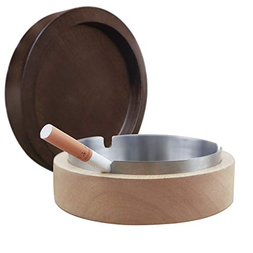VViN Windproof Ash Tray for Weed with Lid - Large, Cigarette Ashtray Wood with Stainless Steel Liner for Outdoors and Indoors Use, Smoking Ashtray for Home Office