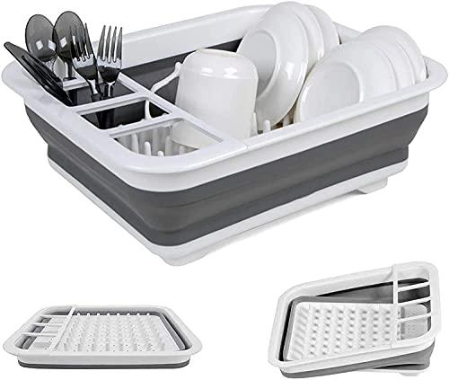 LHY Tabla de cortar plegable de conveniencia – Tabla de cortar multifunción, escurridor de lavabo y cuenco de lavado para la cuba, tapón de drenaje de cocina duradero (color: gris)