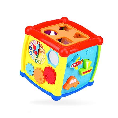 quanjucheer Actividad musical cubo reloj bloques geométricos clasificador educativo niños niños niños aprendizaje temprano juguete color al azar
