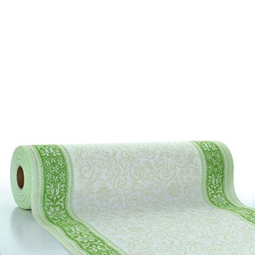 Sovie HORECA Linclass® Airlaid Tischläufer Lara 40 cm x 24 m | Tischdecken-Rolle stoffähnlich | praktische Einmal-Tischdecke für Hochzeit oder Partys | Grün