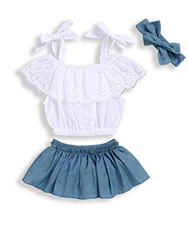 Toddler Baby Girls Clothes Lace Sling Tops+ Shorts+Headband Outfits 6-12 Months