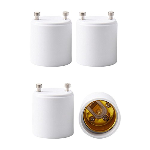 JACKYLED GU24 to E26 E27 Adapter 4-Pack Heat Resistant Up to 200℃ Fire Resistant Converts GU24 Pin Base Fixture to E26 E27 Standard Screw-in Socket