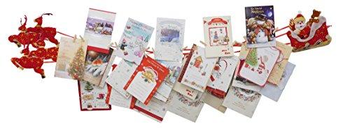 Christmas Concepts® Santa Sleigh & 4 Rentier Stoff Weihnachtskartenhalter mit hölzernen Stöpseln - Weihnachtsdekoration