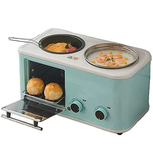LNLN 1200 W Multifunktions-FrüHstüCksmaschine, Toaster, 4-In-1-Elektroofen, 6-Minuten-Timer, FrüHstüCk Zum Kochen Und Braten Mit Backblech,Green