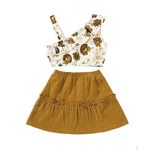 Conjunto de ropa floral para bebés y niñas, con una sola correa, sin mangas, chaleco de verano, falda casual, 2 unidades, Jengibre, 4-5 Años