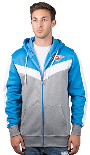 Ultra Game NBA Oklahoma City Thunder Mens Soft Fleece Full Zip Jacket Hoodie, Team Color, X-Large