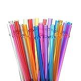 LANGING Lot de 30 pailles rutilisables en Plastique Rigide avec Brosse de Nettoyage Couleurs Arc-en-Ciel 5-6 couleurs