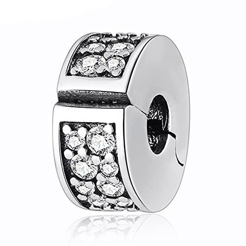 Pandora 925 Plata de Ley DIY Clip Bead Fit Lady Pulsera Brillante Elegancia Clear Cz Crystal Charm Jewelry