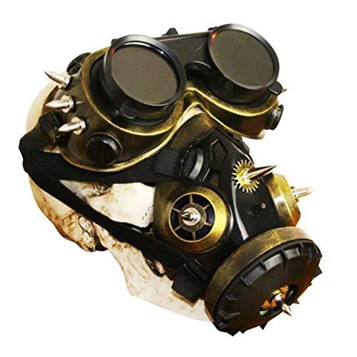 ZED- Maske Vollgesichts mit Steampunk Gasmaskenbrille Spikes Skeleton Totenmaske Maskerade für Cosplay Schutz Halloween Kostüme CS Staub Proof