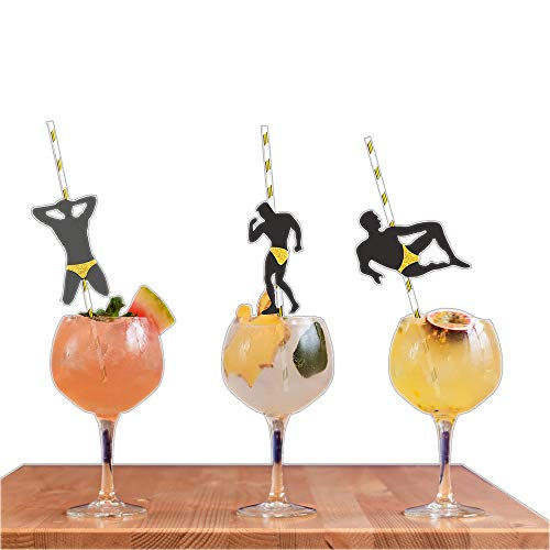 Bachelorette Party Decorations Straws I 24 PACK Stripper Pole Dancer Straw I Black and Gold Glitter Confetti Pre Glued I Bridal Shower Supplies Crazy Silly Party Straws Drinking Favors Striper Games