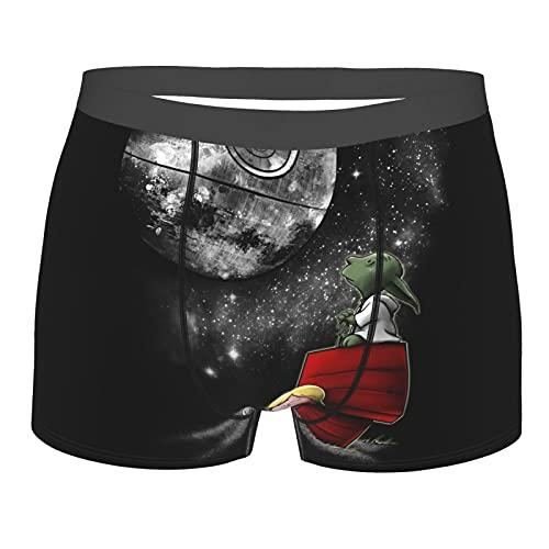 Baby Yoda Star The Wars Snoopy Herren Slip Boxershorts S-XXL Unterwäsche Print Design Stretch Stoff Elastischer Gürtel Bequem und Atmungsaktiv Gr. XL, Schwarz