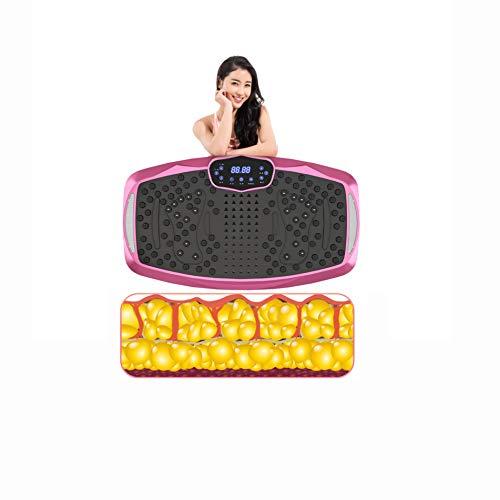 H-XH Plataforma vibratoria para Adelgazar para Formar, Entrenador De Vibración De Calor De Alta Frecuencia De Combustión, Bluetooth + Cable Elástico(Size:77 * 44 * 15CM,Color:Placa de vibración Rosa)