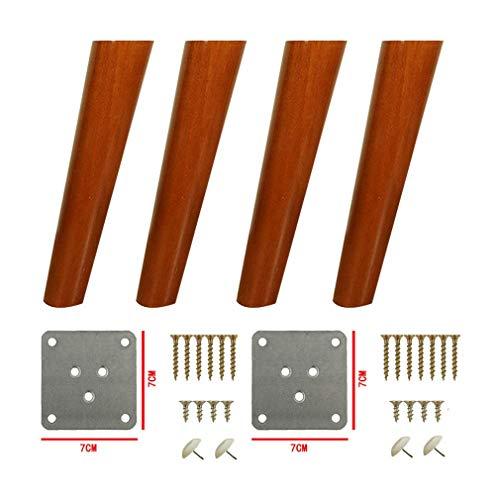 4 Stück Holzmöbel Beine, Kipptisch Ersatzbein, Massivholz Küchenschrank Füße, Sofa Füße, für Couchtisch, Bett, Kommode, Sessel Stützfüße, Walnussfarbe (30 cm)