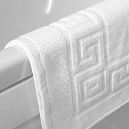 Egyptian Cotton 750gsm Greek Key Pattern Bath Mats | Sleep&Beyond (White, 12 Pack)