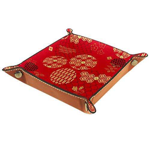 Caja de almacenamiento pequeña, bandeja de valet para hombre,Decoración tradicional china ,Organizador de cuero para llaves de caja de monedas