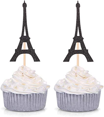 Paris Theme Cupcake Toppers Eiffel Tower Shape Party Picks Wedding Bridal Shower Decorations product image