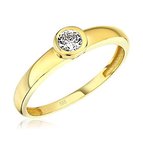 Juwelier Rubin Damen-ring Verlobungsring Gelbgold Weißgold Weissgold 585 Gold 14 Karat Stein Zargenfassung Zirkonia Brillantschliff Solitär (14 Karat (585) Gelbgold, 56 (17.8))