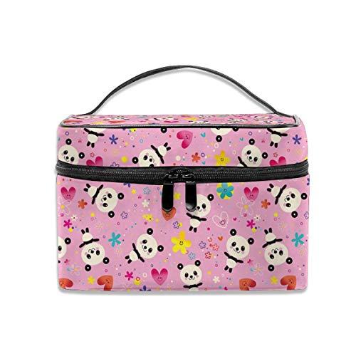 Jojoshop Grand sac de voyage pour pinceaux de maquillage Motif panda Rose
