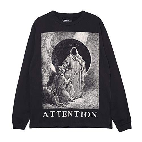Y2k Dark High Street Style Madonna Camiseta de Manga Larga con Estampado Envejecido Unisex Ins National Tide Hip-Hop Retro Camiseta Suelta de Fondo