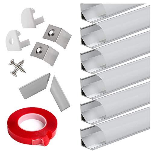 Alu Profil 45° - 6x100cm LED Aluminium Kanal für LED-Streifen/Leisten mit Weiß Milchige Abdeckung,Endkappen,adhesivo de montaje,und Montageklammer …