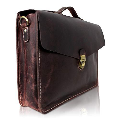 Corno d ▸Oro Heren lederen aktetas, grote schoudertas tot 15,6 inch laptoptas, lichte schoudertas, vintage echt leer, kleurkeuze