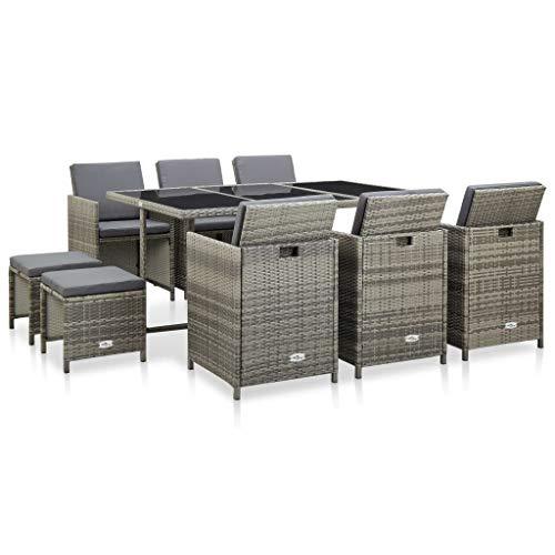 pedkit Conjuntos Sofa Exterior Set de Comedor de jardín 11 pzas y Cojines ratán sintético Gris