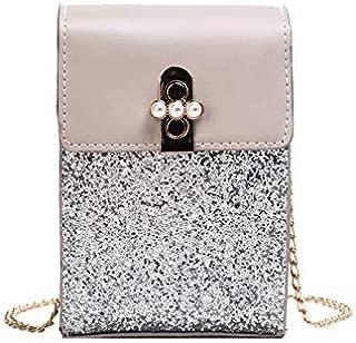 TOOGOO Women'S Fashion Small Square Bag Sequin Chain Shoulder Bag Messenger Bag Mobile Phone Bag Purse Handbag Black