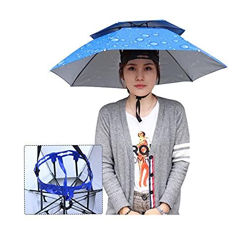 ZAZAP-1 Sombrero de Paraguas con Anillo de Cabeza de Goma, Sombrero de Paraguas de Pesca para Adultos, Niños, Mujeres, Hombres, Gorro de Pesca de Camuflaje, Protección UV, para Jardinería, Acampar